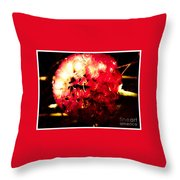 Red Zinnia Abstract Throw Pillow