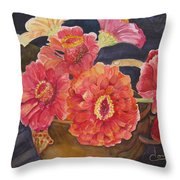 Red Zinnias Throw Pillow