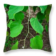 Redbud Green Throw Pillow