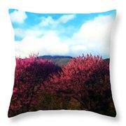 Redbud In The Blue Ridge Throw Pillow