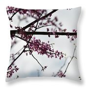 Redbuds In The Mist Throw Pillow