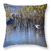Reddish Egret And Yellowlegs Throw Pillow