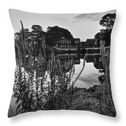 Redd's Pond Lupines Sunrise Black And White Throw Pillow
