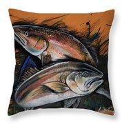 Redfish Frenzy Throw Pillow