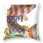Redfish, White And Blue Throw Pillow