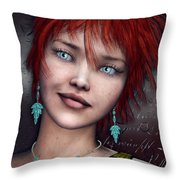 Redhead Throw Pillow by Jutta Maria Pusl
