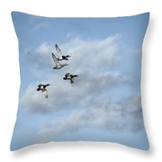 Redheaded Ducks Riding The Storm Throw Pillow