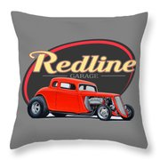 Redline Hot Rod Garage Throw Pillow