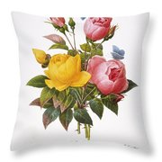 Redoute: Roses, 1833 Throw Pillow