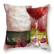 Redwinewatercolor Throw Pillow