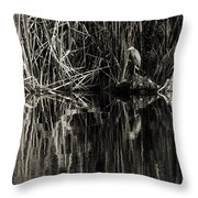 Reeds And Heron Throw Pillow