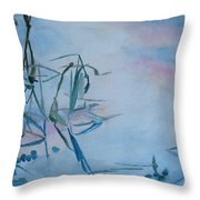 Reeds At Sunset Throw Pillow