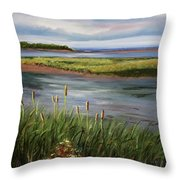 Reeds By The Water Throw Pillow