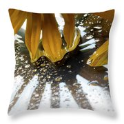 Reflected Yellow Petals Throw Pillow