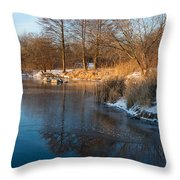 Reflecting In Threes - Three Trees By The Lake Throw Pillow