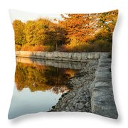 Reflecting On Autumn - Gray Rocks Highlighting The Foliage Brilliance Throw Pillow
