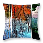 Reflecting On Autumn - Triptych Throw Pillow