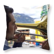 Reflecting On His Music Throw Pillow