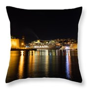 Reflecting On Malta - Cruising Out Of Valletta Grand Harbour Throw Pillow