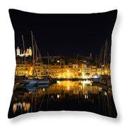 Reflecting On Malta - Senglea Golden Night Magic Throw Pillow