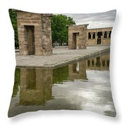Reflecting On Millennia - Egyptian Temple Of Debod In Madrid Spain  Throw Pillow