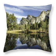 Reflecting On Yosemite Throw Pillow by Chris Cousins