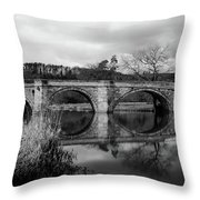 Reflecting Oval Stone Bridge In Blanc And White Throw Pillow by Dennis Dame
