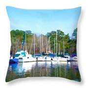 Reflecting The Masts - Watercolor Style Throw Pillow