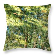 Reflecting Trees On Quiet Pond Throw Pillow