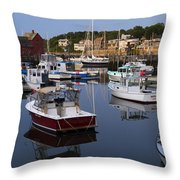 Reflection At Rockport Harbor Throw Pillow