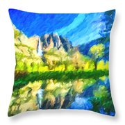 Reflection In Merced River Of Yosemite Waterfalls Throw Pillow