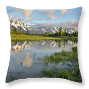 Reflection In Snake River At Grand Teton Throw Pillow