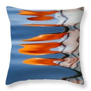 Water Reflection Of Orange Blobs And Black Zig Zagging Lines Throw Pillow