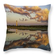 Reflection Of Clouds And Lighthouse Throw Pillow