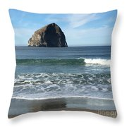 Reflection Of Haystock Rock  Throw Pillow