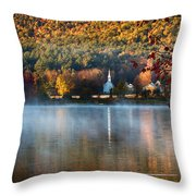 Reflection Of Little White Church With Fall Foliage Throw Pillow
