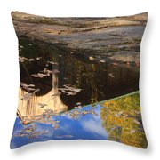 Reflection Of Montgomery Covered Bridge Throw Pillow