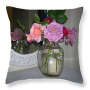 Reflection Of Roses Throw Pillow