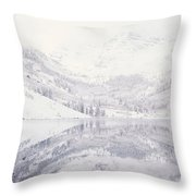Reflection Of Snowcapped Mountains Throw Pillow
