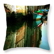 Reflection Of The Wooden Boat Throw Pillow