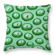 Reflection Of Waving Man In Water Droplets On Green Throw Pillow