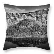 Reflection Of Wizard Island Crater Lake B W Throw Pillow