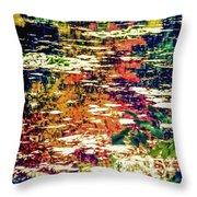 Reflection On Oscar - Claude Monet's  Garden Pond  Throw Pillow