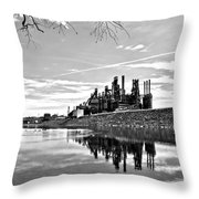 Reflection On The Lehigh Throw Pillow by DJ Florek