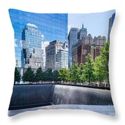 Reflections At 911 Memorial Throw Pillow