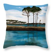 Reflections At Western Lake Throw Pillow