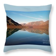 Mountains Reflected On A Beautiful Lake Throw Pillow