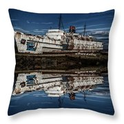 Reflections From The Duke Of Lancaster Ship  Throw Pillow
