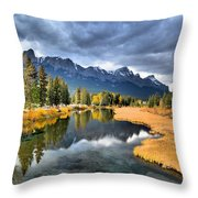 Reflections In Canmore Throw Pillow