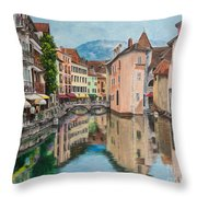 Reflections Of Annecy Throw Pillow